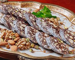 Колбаска шоколадная с фисташками и грецким орехом